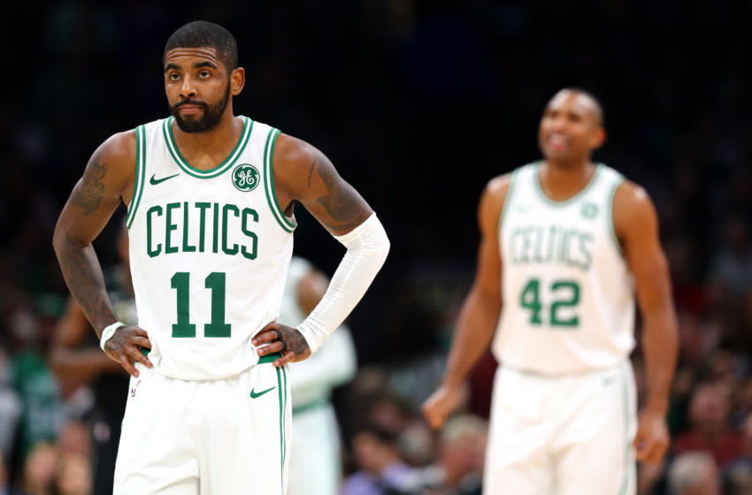 BOSTON, MA - NOVEMBER 1: Kyrie Irving #11 of the Boston Celtics looks on during the game between the Boston Celtics and the Milwaukee Bucks at TD Garden on November 1, 2018 in Boston, Massachusetts. (Photo by Maddie Meyer/Getty Images)