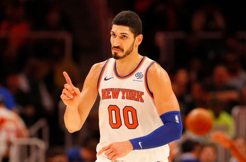 ATLANTA, GA - NOVEMBER 07: Enes Kanter #00 of the New York Knicks reacts after making a free throw against the Atlanta Hawks at State Farm Arena on November 7, 2018 in Atlanta, Georgia. NOTE TO USER: User expressly acknowledges and agrees that, by downloading and or using this photograph, User is consenting to the terms and conditions of the Getty Images License Agreement. (Photo by Kevin C. Cox/Getty Images)