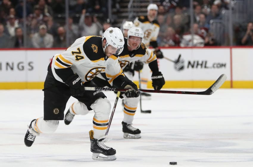 DENVER, CO - NOVEMBER 14: Jake DeBrusk #74 of the Boston Bruins breaks free en route to a gaol against the Colorado Avalanche in the first period at the Pepsi Center on November 14, 2018 in Denver, Colorado. (Photo by Matthew Stockman/Getty Images)