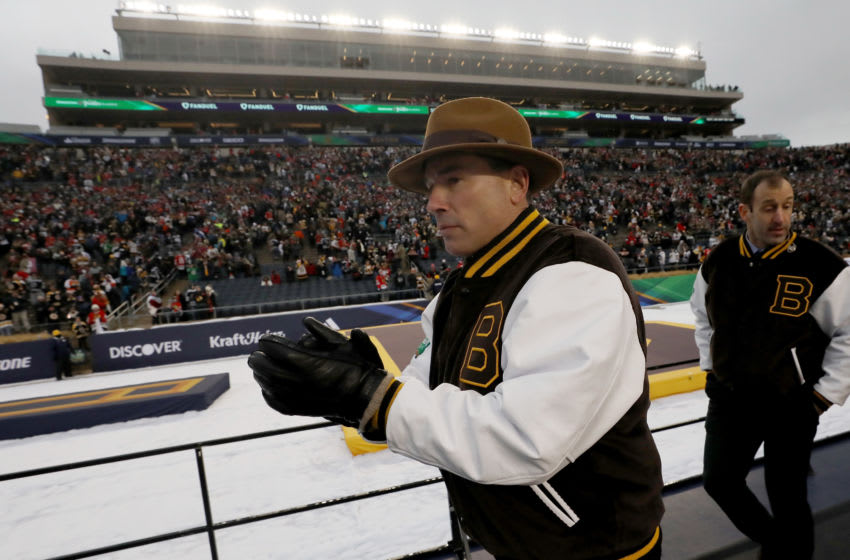 SOUTH BEND, INDIANA - JANUARY 01: Head coach Bruce Cassidy of the Boston Bruins leaves the rink after beating the Chicago Blackhawks 4-3 in the 2019 Bridgestone NHL Winter Classic at Notre Dame Stadium on January 01, 2019 in South Bend, Indiana. (Photo by Gregory Shamus/Getty Images)