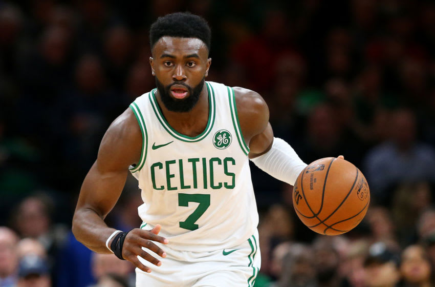 BOSTON, MASSACHUSETTS - JANUARY 09: Jaylen Brown #7 of the Boston Celtics dribbles against the Indiana Pacers during the second half of the game at TD Garden on January 09, 2019 in Boston, Massachusetts. The Celtics defeat the Pacers 135-108. NOTE TO USER: User expressly acknowledges and agrees that, by downloading and or using this photograph, User is consenting to the terms and conditions of the Getty Images License Agreement. (Photo by Maddie Meyer/Getty Images)