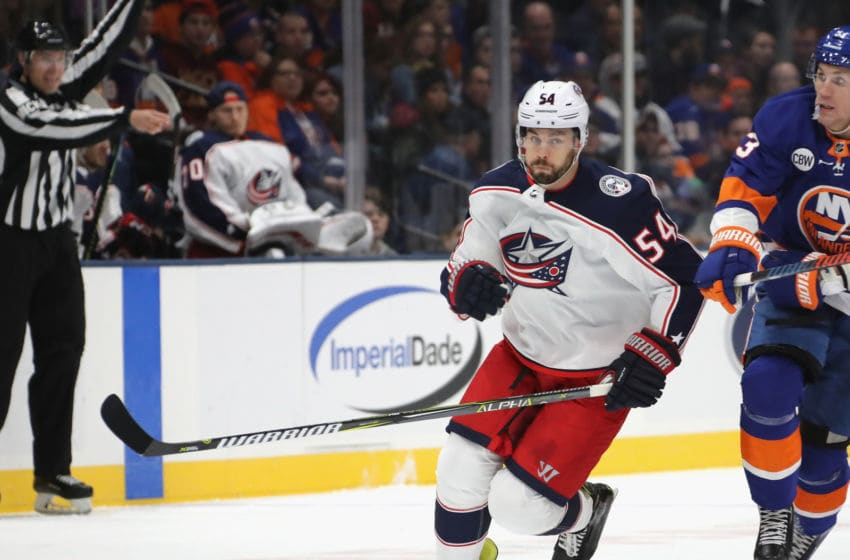 UNIONDALE, NEW YORK - MARCH 11: Adam McQuaid #54 of the Columbus Blue Jackets skates against the New York Islanders at the NYCB Live's Nassau Coliseum on March 11, 2019 in Uniondale, New York. (Photo by Bruce Bennett/Getty Images)