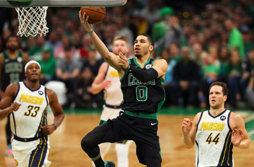 BOSTON, MA - APRIL 14: Jayson Tatum #0 of the Boston Celtics drives to the basket in the second quarter during Game One of the first round of the 2019 NBA Eastern Conference Playoffs against the Indiana Pacers at TD Garden on April 14, 2019 in Boston, Massachusetts. NOTE TO USER: User expressly acknowledges and agrees that, by downloading and or using this photograph, User is consenting to the terms and conditions of the Getty Images License Agreement. (Photo by Adam Glanzman/Getty Images)