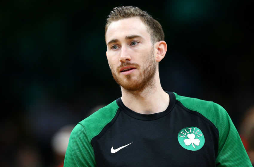 BOSTON, MASSACHUSETTS - MARCH 16: Gordon Hayward #20 of the Boston Celtics looks on before the game against the Atlanta Hawks at TD Garden on March 16, 2019 in Boston, Massachusetts. (Photo by Maddie Meyer/Getty Images)