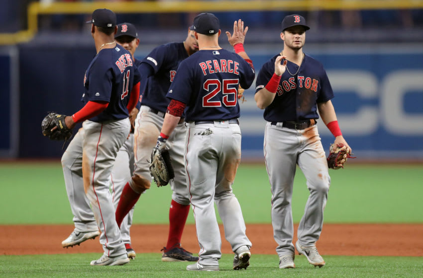 ST. PETERSBURG, FL - APRIL 21: Members of the Boston Red Sox celebrate a win over the Tampa Bay Rays in a baseball game at Tropicana Field on April 21, 2019 in St. Petersburg, Florida. (Photo by Mike Carlson/Getty Images)