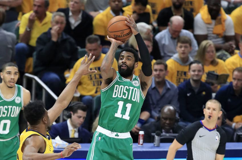 INDIANAPOLIS, INDIANA - APRIL 19: Kyrie Irving #11 of the Boston Celtics shoots the ball against the Indiana Pacers in game three of the first round of the 2019 NBA Playoffs at Bankers Life Fieldhouse on April 19, 2019 in Indianapolis, Indiana. NOTE TO USER: User expressly acknowledges and agrees that , by downloading and or using this photograph, User is consenting to the terms and conditions of the Getty Images License Agreement. (Photo by Andy Lyons/Getty Images)