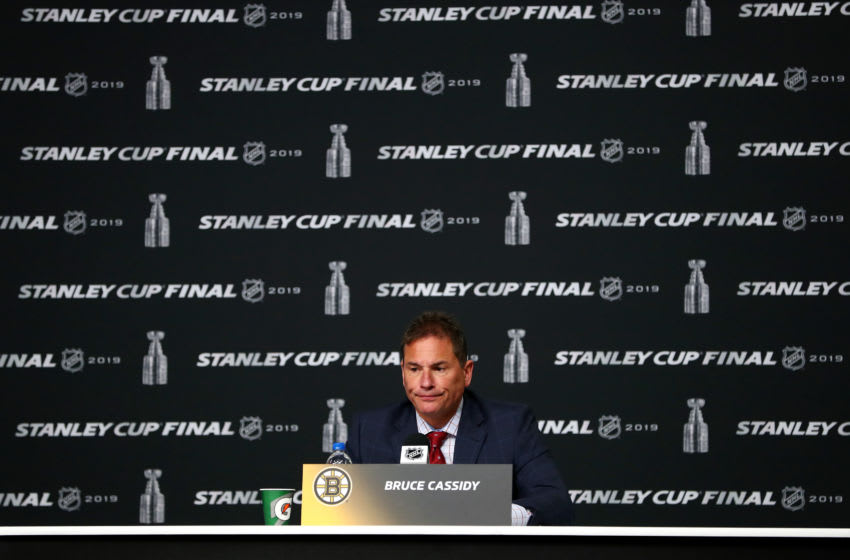 BOSTON, MASSACHUSETTS - MAY 29: Head coach Bruce Cassidy of the Boston Bruins speaks to the media following his teams 3-2 overtime loss to the St. Louis Blues in Game Two of the 2019 NHL Stanley Cup Final at TD Garden on May 29, 2019 in Boston, Massachusetts. (Photo by Adam Glanzman/Getty Images)
