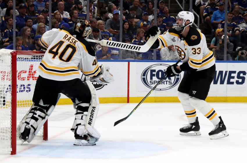 ST LOUIS, MISSOURI - JUNE 09: Tuukka Rask #40 of the Boston Bruins gets his stick from Zdeno Chara #33 during the third period against the St. Louis Blues in Game Six of the 2019 NHL Stanley Cup Final at Enterprise Center on June 09, 2019 in St Louis, Missouri. (Photo by Bruce Bennett/Getty Images)