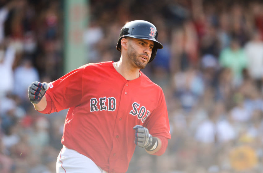 BOSTON, MA - JULY 27: J.D. Martinez #28 of the Boston Red Sox reacts after hitting a two run home run in the fourth inning against the New York Yankees at Fenway Park on July 27, 2019 in Boston, Massachusetts. (Photo by Kathryn Riley/Getty Images)