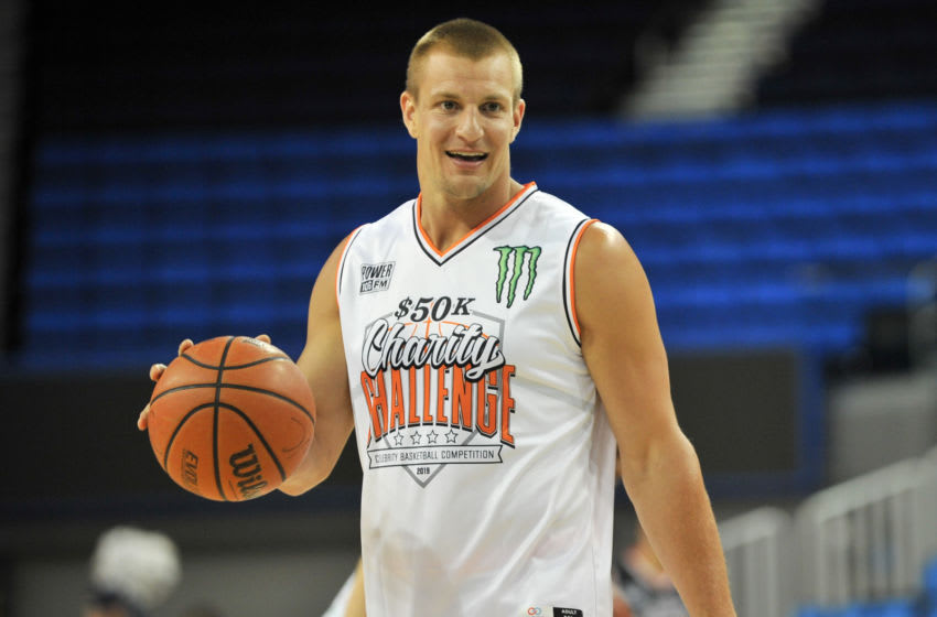 WESTWOOD, CALIFORNIA - JULY 08: Rob Gronkowski participates in the Monster Energy $50K Charity Challenge Celebrity Basketball Game at UCLA's Pauley Pavilion on July 08, 2019 in Westwood, California. (Photo by Allen Berezovsky/Getty Images)