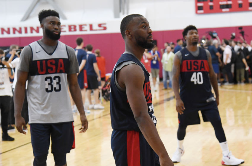 LAS VEGAS, NEVADA - AUGUST 05: (L-R) Jaylen Brown #33, Kemba Walker #26 and Marcus Smart #40 of the 2019 USA Men's National Team participate in a shooting drill during a practice session at the 2019 USA Basketball Men's National Team World Cup minicamp at the Mendenhall Center at UNLV on August 5, 2019 in Las Vegas, Nevada. (Photo by Ethan Miller/Getty Images)