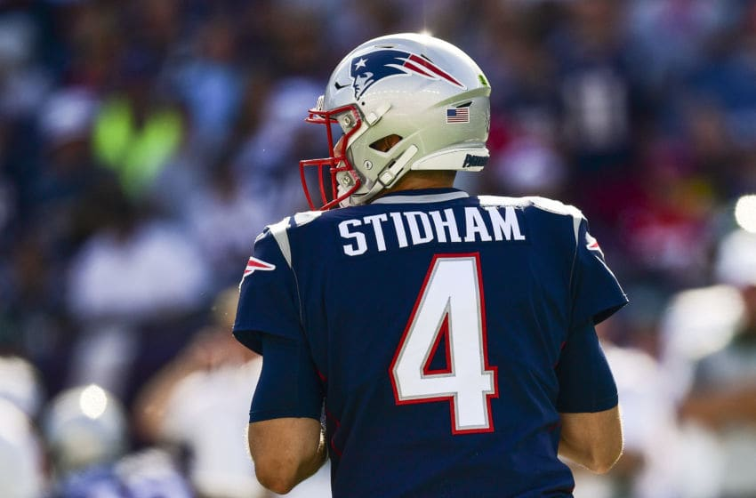 FOXBOROUGH, MA - SEPTEMBER 22: Jarrett Stidham #4 of the New England Patriots prepares to throw during the fourth quarter of a game against the New York Jets at Gillette Stadium on September 22, 2019 in Foxborough, Massachusetts. (Photo by Billie Weiss/Getty Images)