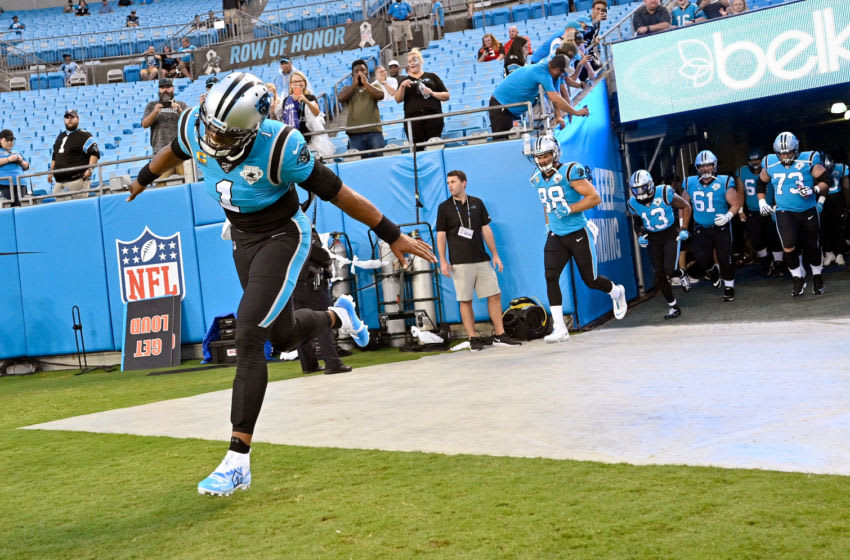 CHARLOTTE, NORTH CAROLINA - SEPTEMBER 12: Cam Newton #1 of the Carolina Panthers leads the offense on to the field before their game against the Tampa Bay Buccaneers at Bank of America Stadium on September 12, 2019 in Charlotte, North Carolina. (Photo by Grant Halverson/Getty Images)