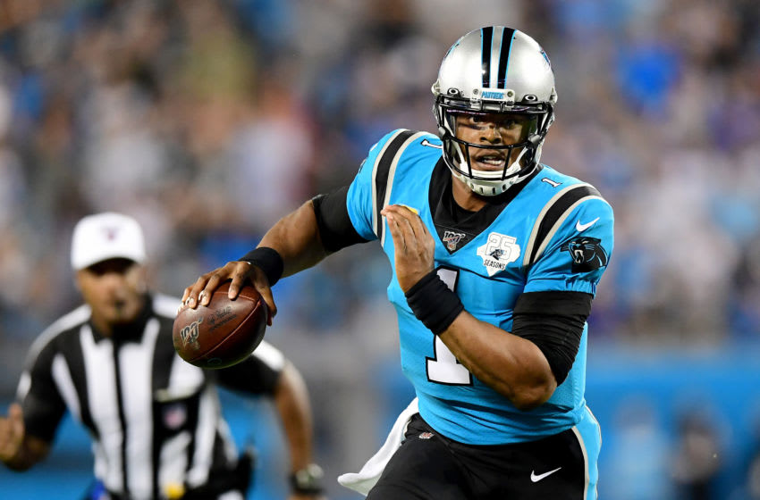CHARLOTTE, NORTH CAROLINA - SEPTEMBER 12: Cam Newton #1 of the Carolina Panthers in the first half during their game at Bank of America Stadium on September 12, 2019 in Charlotte, North Carolina. (Photo by Jacob Kupferman/Getty Images)