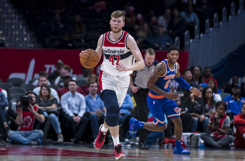 WASHINGTON, DC - OCTOBER 07: Davis Bertans #42 of the Washington Wizards handles the ball against the New York Knicks during the second half at Capital One Arena on October 7, 2019 in Washington, DC. NOTE TO USER: User expressly acknowledges and agrees that, by downloading and or using this photograph, User is consenting to the terms and conditions of the Getty Images License Agreement. (Photo by Scott Taetsch/Getty Images)