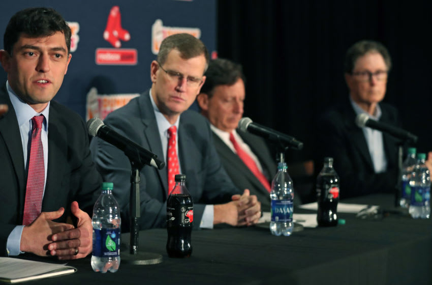 BOSTON, MA - OCTOBER 28: From left, newly-hired chief baseball officer for the Boston Red Sox Chaim Bloom sits with fellow executives Sam Kennedy, Tom Werner and John Henry during an introductory press conference in the State Street Pavilion Club at Fenway Park in Boston on Oct. 28, 2019. (Photo by Jim Davis/The Boston Globe via Getty Images)