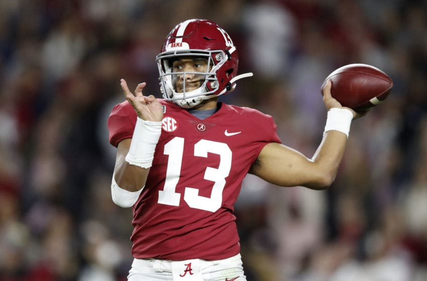 TUSCALOOSA, ALABAMA - NOVEMBER 09: Tua Tagovailoa #13 of the Alabama Crimson Tide throws a pass during the second half against the LSU Tigers in the game at Bryant-Denny Stadium on November 09, 2019 in Tuscaloosa, Alabama. (Photo by Todd Kirkland/Getty Images)