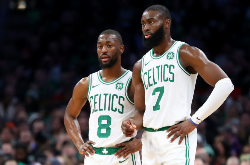 BOSTON, MASSACHUSETTS - DECEMBER 04: Jaylen Brown #7 of the Boston Celtics and Kemba Walker #8 talk during the second half of the game between the Boston Celtics and the Miami Heat at TD Garden on December 04, 2019 in Boston, Massachusetts. The Celtics defeat the Heat 112-93. (Photo by Maddie Meyer/Getty Images)
