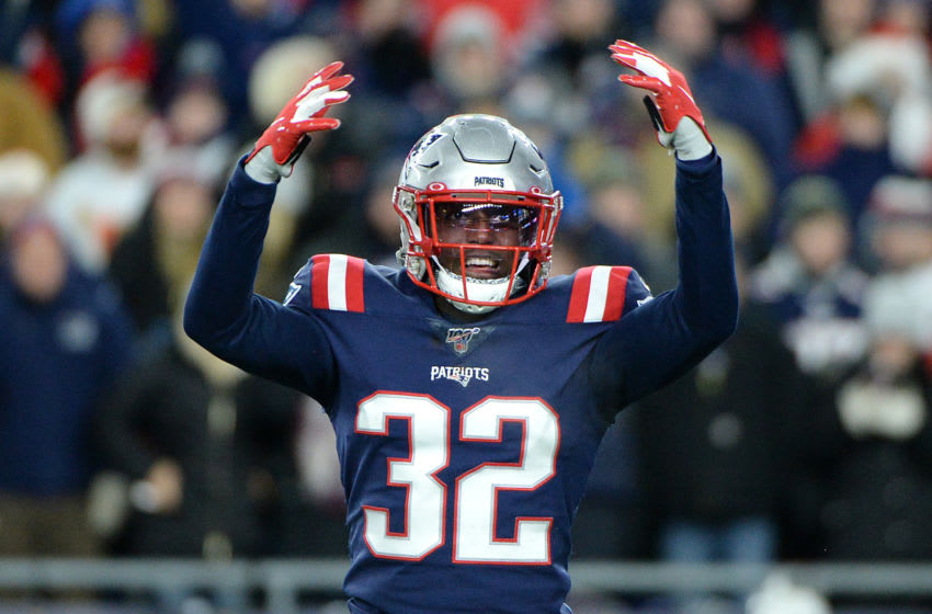 FOXBOROUGH, MASSACHUSETTS - DECEMBER 08: Devin McCourty #32 of the New England Patriots reacts during the second half against the Kansas City Chiefs in the game at Gillette Stadium on December 08, 2019 in Foxborough, Massachusetts. (Photo by Kathryn Riley/Getty Images)