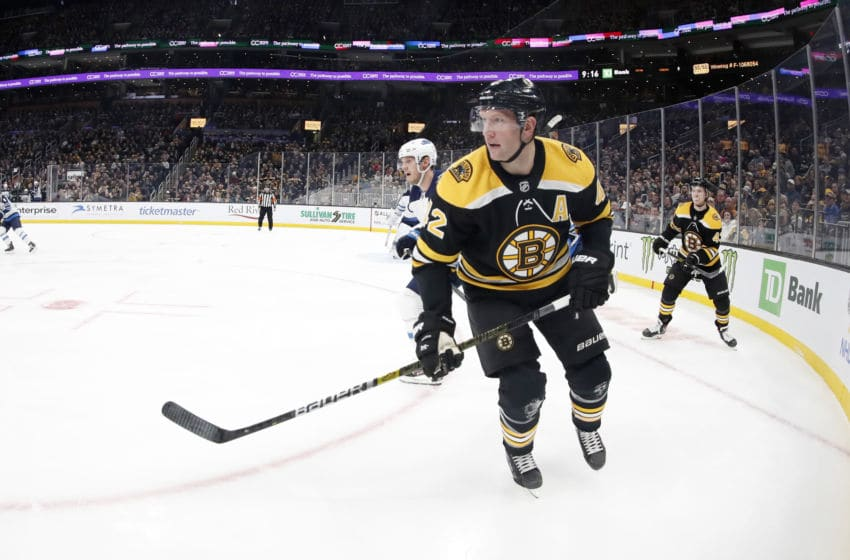BOSTON, MA - JANUARY 09: Boston Bruins center David Backes (42) looks back to the point during a game between the Boston Bruins and the Winnipeg Jets on January 9, 2020, at TD Garden in Boston, Massachusetts. (Photo by Fred Kfoury III/Icon Sportswire via Getty Images)