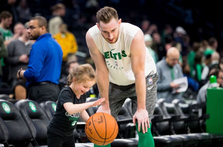 BOSTON, MA - JANUARY 11: Gordon Hayward #20 of the Boston Celtics plays with his children courtside before a game against the New Orleans Pelicans at TD Garden on January 11, 2019 in Boston, Massachusetts. NOTE TO USER: User expressly acknowledges and agrees that, by downloading and or using this photograph, User is consenting to the terms and conditions of the Getty Images License Agreement. (Photo by Adam Glanzman/Getty Images)