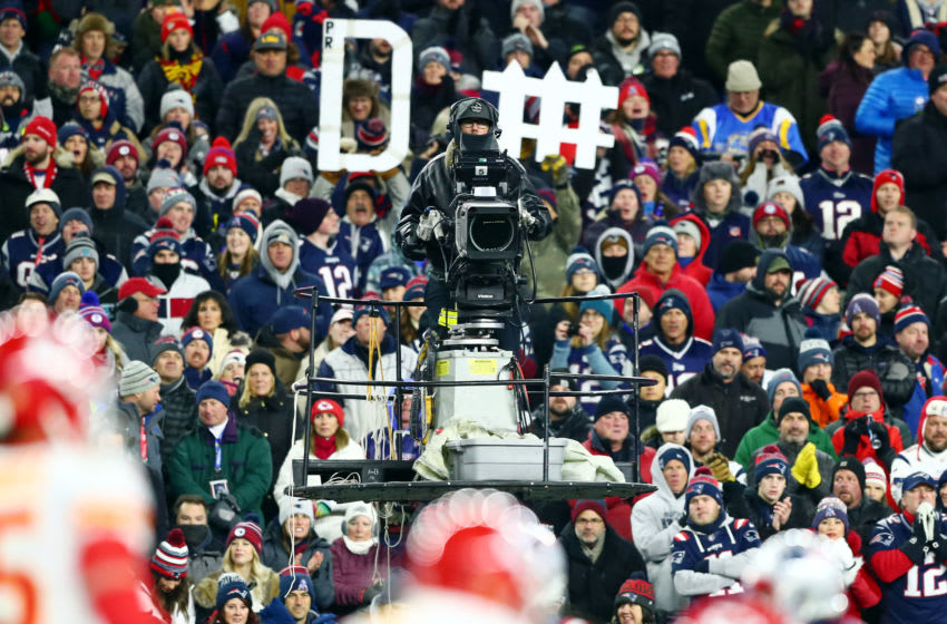FOXBOROUGH, MASSACHUSETTS - DECEMBER 08: A detail of a camera operator during the game between the New England Patriots and the Kansas City Chiefs at Gillette Stadium on December 08, 2019 in Foxborough, Massachusetts. (Photo by Adam Glanzman/Getty Images)