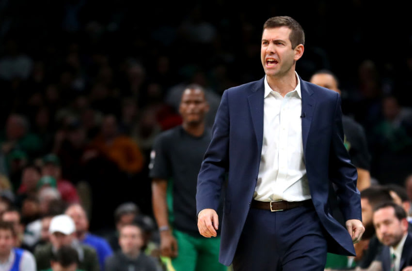 BOSTON, MASSACHUSETTS - DECEMBER 12: Head Coach Brad Stevens of the Boston Celtics directs his team at TD Garden on December 12, 2019 in Boston, Massachusetts. The 76ers defeat the Celtics 115-109. NOTE TO USER: User expressly acknowledges and agrees that, by downloading and or using this photograph, User is consenting to the terms and conditions of the Getty Images License Agreement. (Photo by Maddie Meyer/Getty Images)