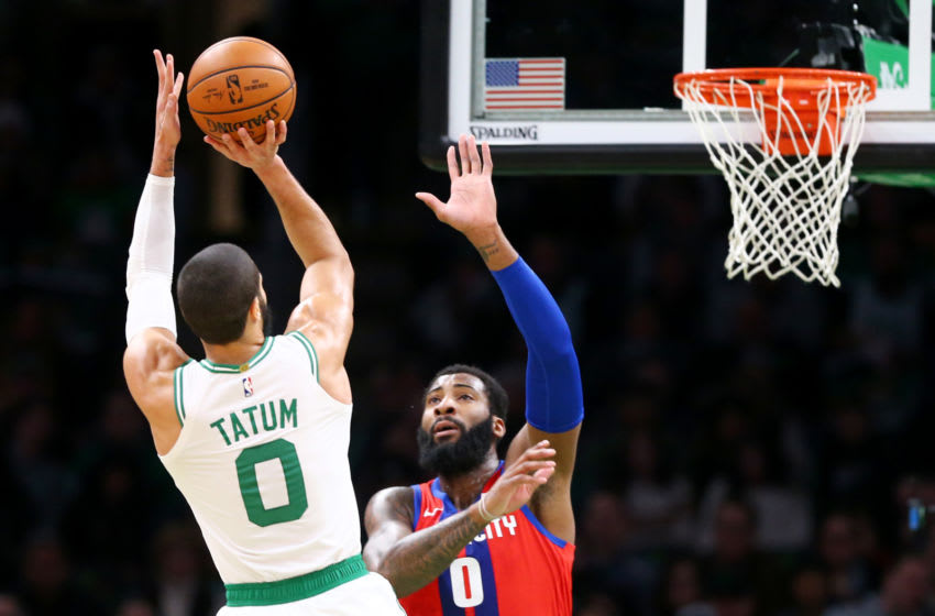 BOSTON, MASSACHUSETTS - DECEMBER 20: Jayson Tatum #0 of the Boston Celtics takes a shot over Andre Drummond #0 of the Detroit Pistons at TD Garden on December 20, 2019 in Boston, Massachusetts. NOTE TO USER: User expressly acknowledges and agrees that, by downloading and or using this photograph, User is consenting to the terms and conditions of the Getty Images License Agreement. (Photo by Maddie Meyer/Getty Images)