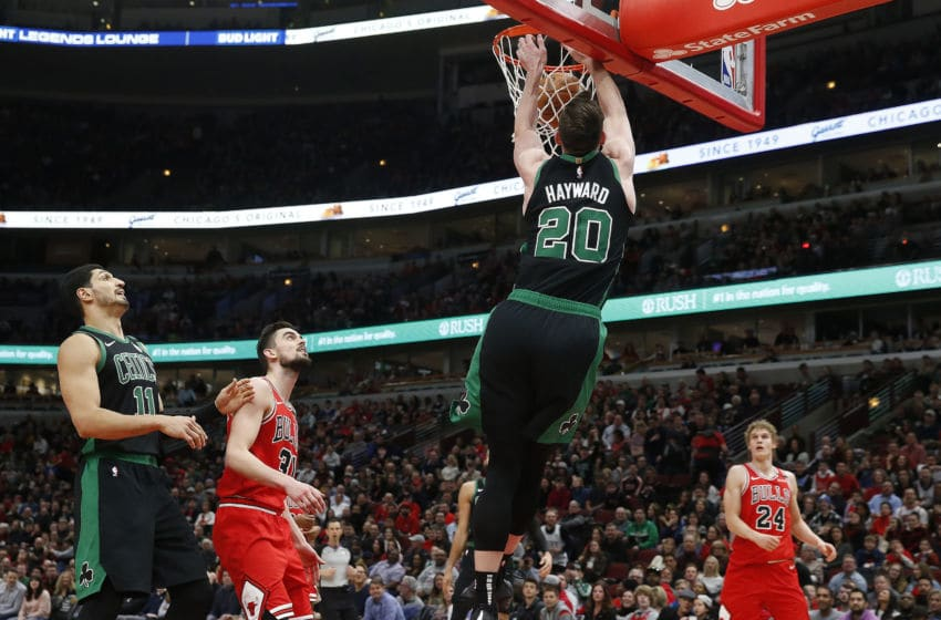 CHICAGO, ILLINOIS - JANUARY 04: Gordon Hayward #20 of the Boston Celtics dunks in front of Tomas Satoransky #31 of the Chicago Bulls during the second half at United Center on January 04, 2020 in Chicago, Illinois. NOTE TO USER: User expressly acknowledges and agrees that, by downloading and or using this photograph, User is consenting to the terms and conditions of the Getty Images License Agreement. (Photo by Nuccio DiNuzzo/Getty Images)