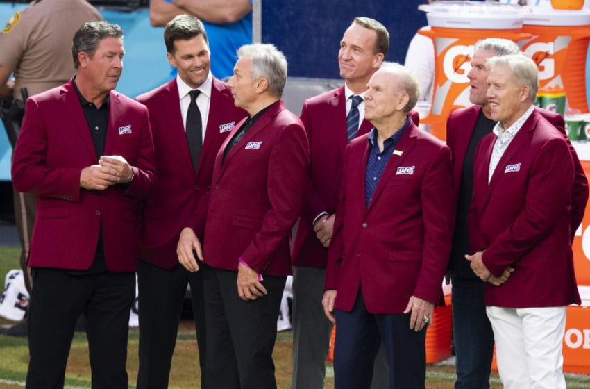 MIAMI GARDENS, FL - FEBRUARY 02: From left, Dan Marino, Tom Brady, Joe Montana, Peyton Manning, Roger Staubach, Brett Favre and John Elway during the NFL 100 All-TIme Team presentation on the field during the before the NFL Super Bowl LIV game between the Kansas City Chiefs and the San Francisco 49ers at the Hard Rock Stadium in Miami Gardens, FL on February 2, 2020. (Photo by Doug Murray/Icon Sportswire via Getty Images)