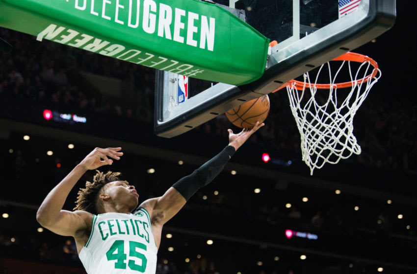 BOSTON, MA - FEBRUARY 5: Romeo Langford #45 of the Boston Celtics goes in for a layup against the Orlando Magic in the second half at TD Garden on February 5, 2020 in Boston, Massachusetts. NOTE TO USER: User expressly acknowledges and agrees that, by downloading and or using this photograph, User is consenting to the terms and conditions of the Getty Images License Agreement. (Photo by Kathryn Riley/Getty Images)