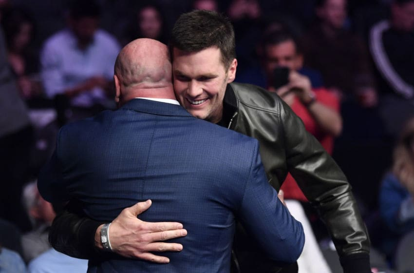 LAS VEGAS, NEVADA - JANUARY 18: Tom Brady greets Dana white while attending the UFC 246 event at T-Mobile Arena on January 18, 2020 in Las Vegas, Nevada. (Photo by Jeff Bottari/Zuffa LLC via Getty Images)