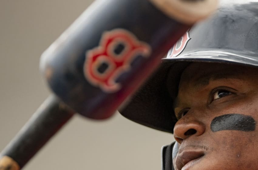 FT. MYERS, FL - MARCH 10: Rafael Devers #11 of the Boston Red Sox looks on during the first inning of a Grapefruit League game against the St. Louis Cardinals on March 10, 2020 at jetBlue Park at Fenway South in Fort Myers, Florida. (Photo by Billie Weiss/Boston Red Sox/Getty Images)
