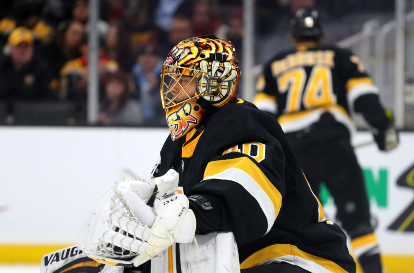 BOSTON, MASSACHUSETTS - FEBRUARY 15: Tuukka Rask #40 of the Boston Bruins looks on during the second period of the game against the Detroit Red Wings at TD Garden on February 15, 2020 in Boston, Massachusetts. (Photo by Maddie Meyer/Getty Images)