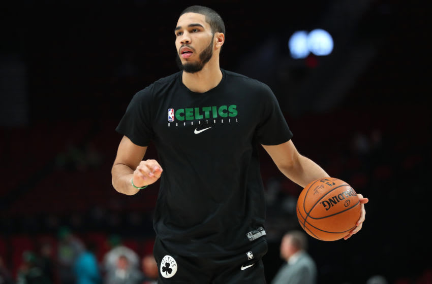 PORTLAND, OREGON - FEBRUARY 25: Jayson Tatum #0 of the Boston Celtics warms up prior to taking on the Portland Trail Blazers at Moda Center on February 25, 2020 in Portland, Oregon. NOTE TO USER: User expressly acknowledges and agrees that, by downloading and or using this photograph, User is consenting to the terms and conditions of the Getty Images License Agreement. (Photo by Abbie Parr/Getty Images)