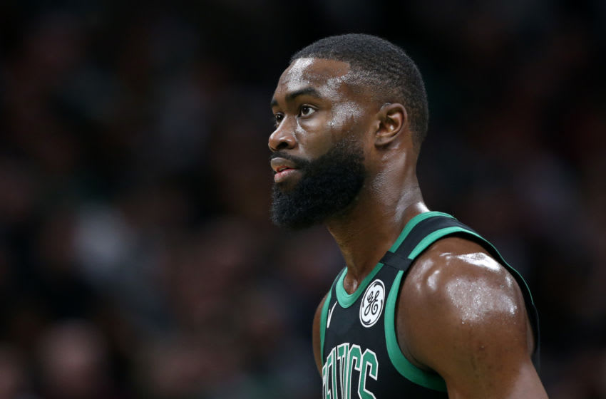BOSTON, MASSACHUSETTS - FEBRUARY 29: Jaylen Brown #7 of the Boston Celtics looks on during the first half of the game against the Houston Rockets at TD Garden on February 29, 2020 in Boston, Massachusetts. (Photo by Maddie Meyer/Getty Images)