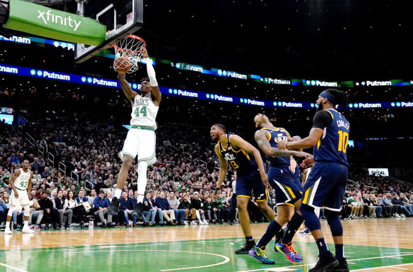 BOSTON, MASSACHUSETTS - MARCH 06: Robert Williams III #44 of the Boston Celtics dunks during the second quarter of the game against the Utah Jazz at TD Garden on March 06, 2020 in Boston, Massachusetts. NOTE TO USER: User expressly acknowledges and agrees that, by downloading and or using this photograph, User is consenting to the terms and conditions of the Getty Images License Agreement. (Photo by Omar Rawlings/Getty Images)
