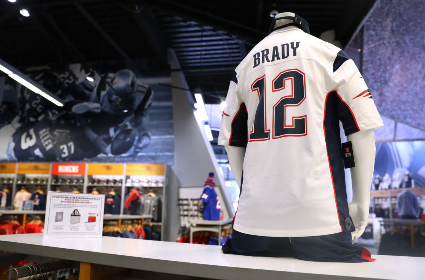 FOXBOROUGH, MASSACHUSETTS - MARCH 17: Tom Brady #12 jerseys on sale at the New England Patriots Pro Shop at Gillette Stadium on March 17, 2020 in Foxborough, Massachusetts. Brady announced he will leave the New England Patriots after 20 seasons with the team to enter free agency. (Photo by Maddie Meyer/Getty Images)