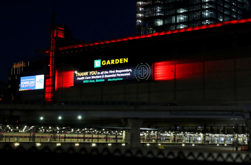 """BOSTON, MASSACHUSETTS- APRIL 04: A message thanking essential personnel fighting the coronavirus on display on TD Garden on April 04, 2020 in Boston, Massachusetts. A """"stay at home"""" order was put into effect by Governor Charlie Baker through May 4th in an attempt to slow the coronavirus (COVID-19) outbreak. (Photo by Maddie Meyer/Getty Images)"""