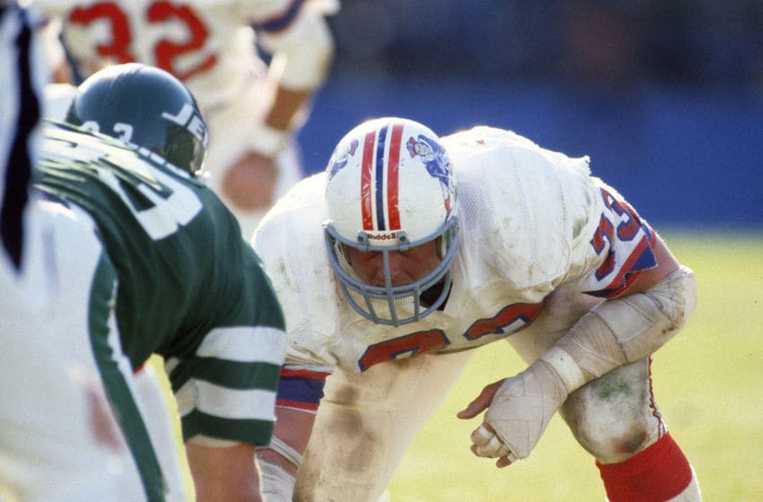 NEW YORK - OCTOBER 11: John Hannah #73 of the New England Patriots in action against the New York Jets during an NFL football game October 11, 1981 at Shea Stadium in the Queens borough of New York City. Hannah played for the Patriots from 1973-85. (Photo by Focus on Sport/Getty Images)