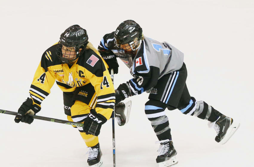 NEWARK, NJ - MARCH 12: Brianna Decker #14 of the Boston Pride and Shelby Bram #13 of the Buffalo Beauts battle for position during Game 2 of the league's inaugural championship series at the New Jersey Devils hockey House on March 12, 2016 in Newark, New Jersey. (Photo by Andy Marlin/Getty Images for NWHL)
