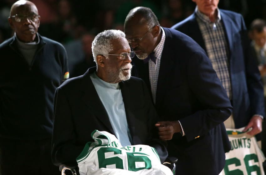 BOSTON, MA - APRIL 13: Member of the 1966 Boston Celtics Championship team Bill Russell is honored at halftime of the game between the Boston Celtics and the Miami Heat at TD Garden on April 13, 2016 in Boston, Massachusetts. NOTE TO USER: User expressly acknowledges and agrees that, by downloading and/or using this photograph, user is consenting to the terms and conditions of the Getty Images License Agreement. (Photo by Mike Lawrie/Getty Images)