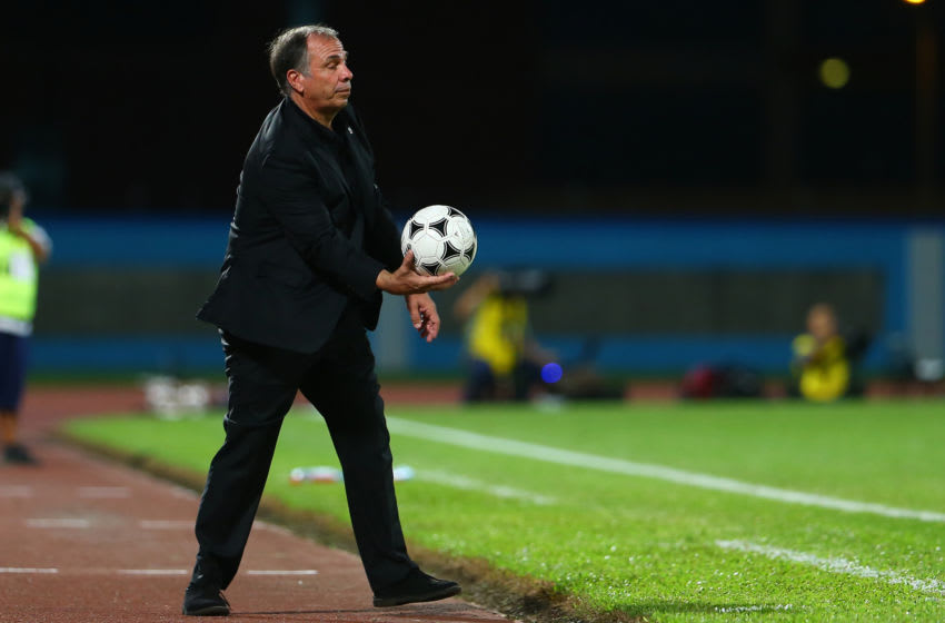 COUVA, TRINIDAD AND TOBAGO - OCTOBER 10: Head coach of the United States mens national team Bruce Arena during the FIFA World Cup Qualifier match between Trinidad and Tobago at the Ato Boldon Stadium on October 10, 2017 in Couva, Trinidad And Tobago. (Photo by Ashley Allen/Getty Images)