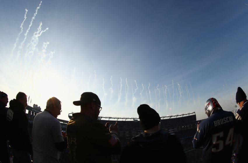 FOXBOROUGH, MA - JANUARY 21: Fans look on as the National anthem is performed before the AFC Championship Game between the New England Patriots and the Jacksonville Jaguars at Gillette Stadium on January 21, 2018 in Foxborough, Massachusetts. (Photo by Billie Weiss/Getty Images)