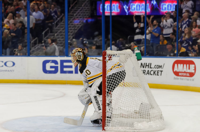 TAMPA, FL - APRIL 3: Tuukka Rask #40 of the Boston Bruins reacts to giving up a goal against the Tampa Bay Lightning during the third period of the game at the Amalie Arena on April 3, 2018 in Tampa, Florida. (Photo by Mike Carlson/Getty Images) *** Local Caption *** Tuukka Rask