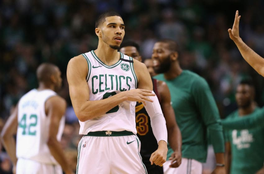 BOSTON, MA - MAY 27: Jayson Tatum #0 of the Boston Celtics reacts after making a basket in the first half against the Cleveland Cavaliers during Game Seven of the 2018 NBA Eastern Conference Finals at TD Garden on May 27, 2018 in Boston, Massachusetts. NOTE TO USER: User expressly acknowledges and agrees that, by downloading and or using this photograph, User is consenting to the terms and conditions of the Getty Images License Agreement. (Photo by Maddie Meyer/Getty Images)