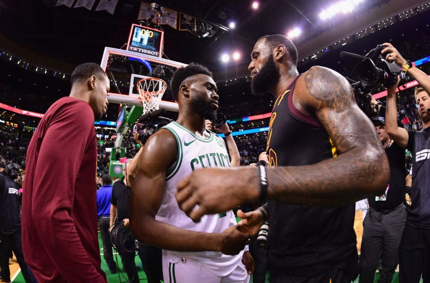BOSTON, MA - MAY 27: LeBron James #23 of the Cleveland Cavaliers talks with Jaylen Brown #7 of the Boston Celtics after the Cleveland Cavaliers defeated the Boston Celtics 87-79 in Game Seven of the 2018 NBA Eastern Conference Finals to advance to the 2018 NBA Finals at TD Garden on May 27, 2018 in Boston, Massachusetts. NOTE TO USER: User expressly acknowledges and agrees that, by downloading and or using this photograph, User is consenting to the terms and conditions of the Getty Images License Agreement. (Photo by Adam Glanzman/Getty Images)