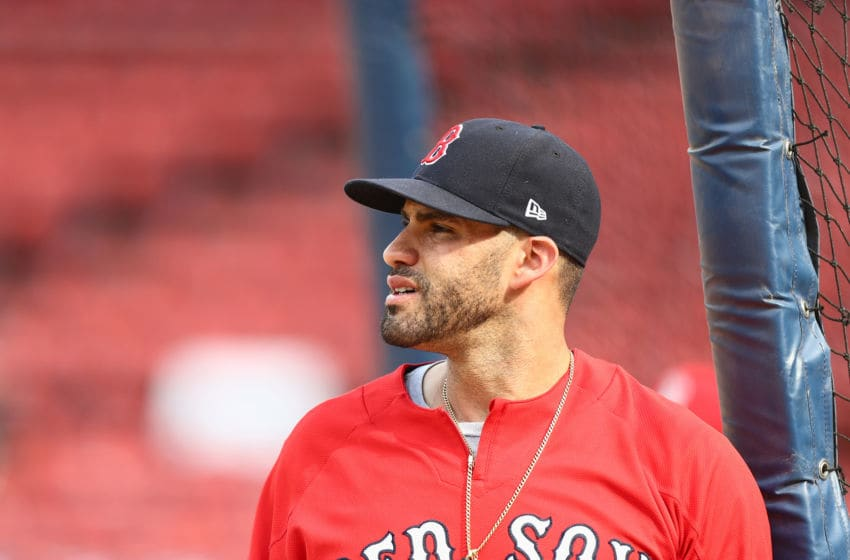 BOSTON, MA - JULY 28: J.D. Martinez #28 of the Boston Red Sox looks on before the game against the Minnesota Twins at Fenway Park on July 28, 2018 in Boston, Massachusetts. (Photo by Omar Rawlings/Getty Images)