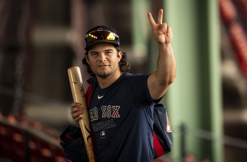 BOSTON, MA - JULY 8: Andrew Benintendi #16 of the Boston Red Sox reacts during a summer camp workout before the start of the 2020 Major League Baseball season on July 8, 2020 at Fenway Park in Boston, Massachusetts. The season was delayed due to the coronavirus pandemic. (Photo by Billie Weiss/Boston Red Sox/Getty Images)