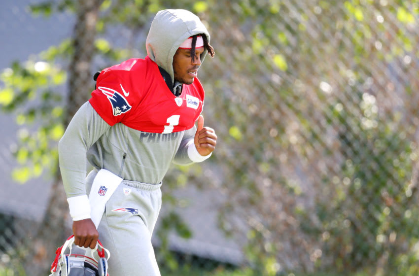 FOXBOROUGH, MASSACHUSETTS - AUGUST 26: Cam Newton #1 of the New England Patriots arrives to Patriots Training camp at Gillette Stadium on August 26, 2020 in Foxborough, Massachusetts. (Photo by Maddie Meyer/Getty Images)
